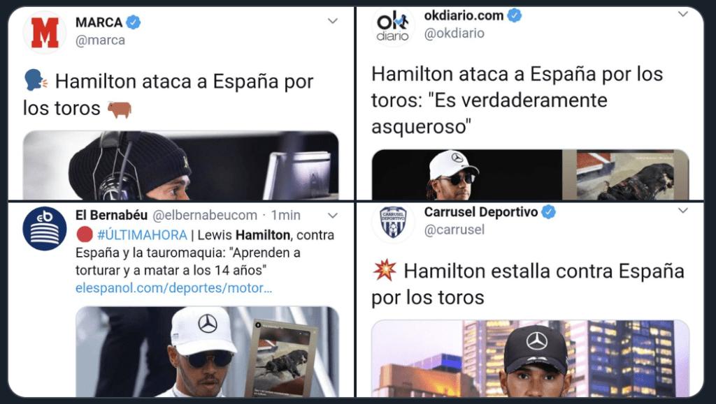 Hamilton ataca la tauromaquia y las redes se posicionan. ¿Estás a favor? 1