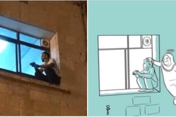 Un joven trepa hasta la ventana de un hospital para despedirse de su madre enferma por Covid 13